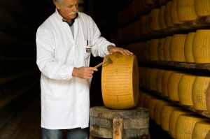 Each and every Parmigiano wheel is tested for quality by the master grader
